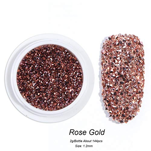 1.2Mm Nail Rhinestones Crystal Zircon Glitter Mini Beads Nail Art Jewelry Decoration Rose Gold 3D Charms Gel Polish Gems,Rose Gold