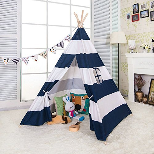 e-joy 6' Indoor Indian Playhouse Toy Teepee Play Tent for Kids Toddlers Canvas Teepee with Carry Case with Mat (Blue Stripe) (Teepee Tent Kids)