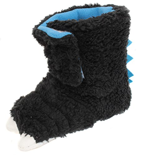 Chatties Toddler's Girl's Boy's Monster Feet Slipper Shoes (X-Large 11/12, Black)