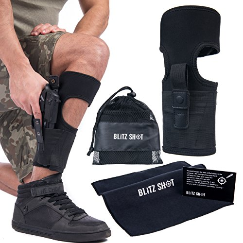 Hand Ankle Holster Right Black - Ankle Holster for Concealed Carry | Adjustable Ankle Holster w. Strong Hoop&Loop for Men and Women – Ankle Holster for Glock 43 42 36 26 19, Smith&Wesson M&P Shield Bodyguard ,Ruger LCP LC9, Sig Sauer