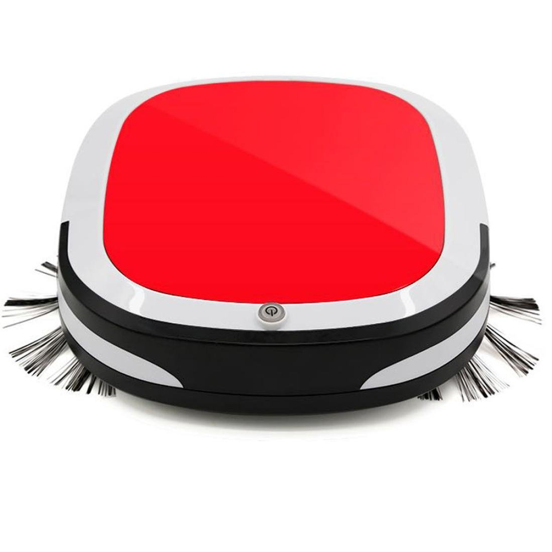 Robot Vacuum Cleaner, Robotic Vacuum Cleaner with Smart Mopping [Dry Wet Sweeping Mop], Self-charging & Drop-sensing Technology, for Hard floor (Red)