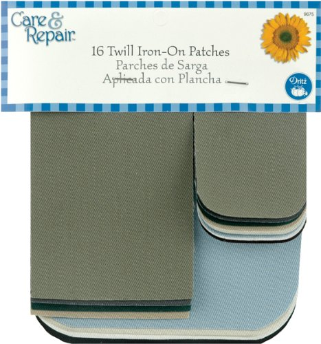 Twill Iron On Patches 16/Pkg-Assorted Colors Light Twill Assortment