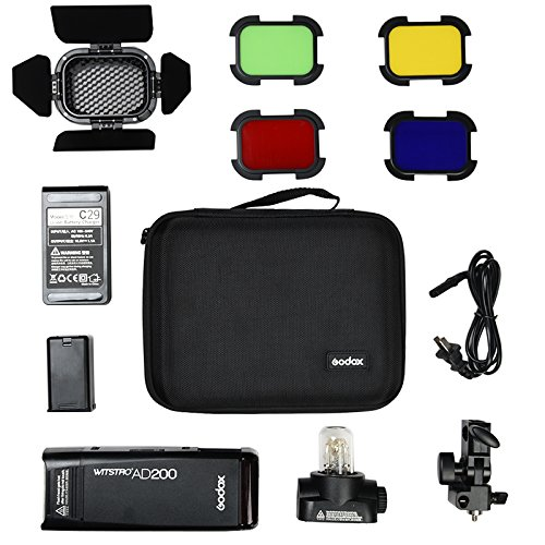 Godox AD200 200Ws 2.4G TTL Speedlite Flash Strobe 1/8000 HSS Monolight, 2900mAh Lithium Battery with BD-07 Barn Door & Honeycomb Grid and 4 Color Gel Filters by Godox (Image #8)