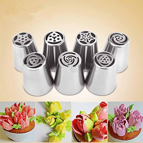 7 PCs Beautiful Pastry Cake Icing Piping Decorating Nozzles Tips Baking Tool (Cutthroat Island Costumes)