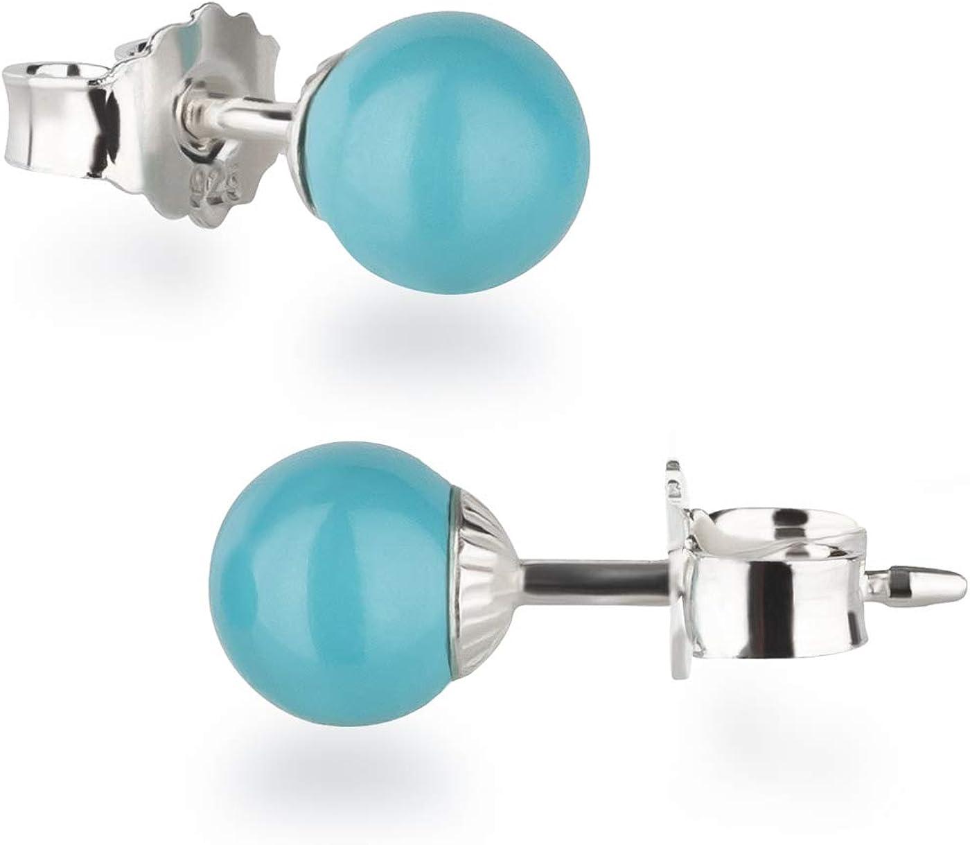 Schöner-SD - Pendientes para mujer de plata 925 con bolas redondas de 6 mm, multicolor