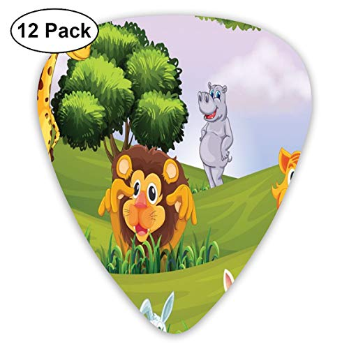 Guitar Picks 12-Pack,Animals In The Forest Cartoon Illustration African Safari Jungle Ecosystem Greenery