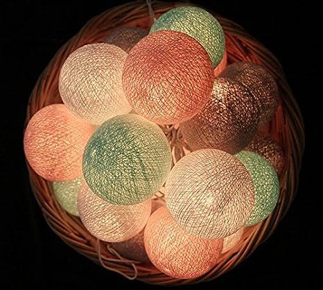 20 baumwolle kugel lichterkette stoff ball zuhause schlafzimmer ... - Schlafzimmer Mint Rosa