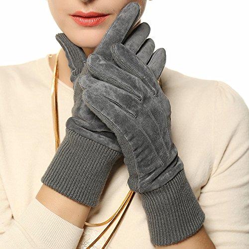 Warmen Women's Genuine Pigskin Suede Leather Gloves with Rib-knit Cuff for Winter (L, Grey) (Ladies Leather Genuine Suede)