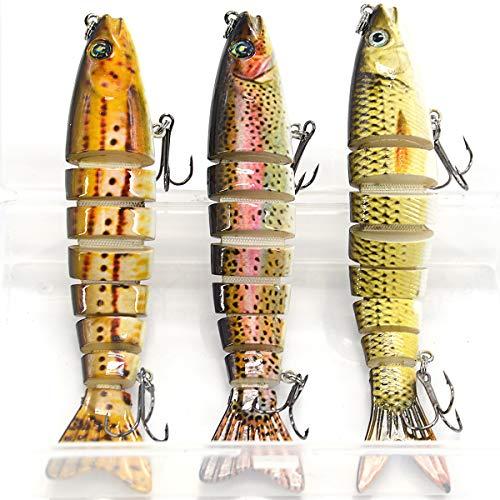 Supertrip 5/8-Ounce 5-Inch 8 Segment Swimbait Lures Crankbaits Baits Hard Bait Fishing Lures (3pcs-CJ)
