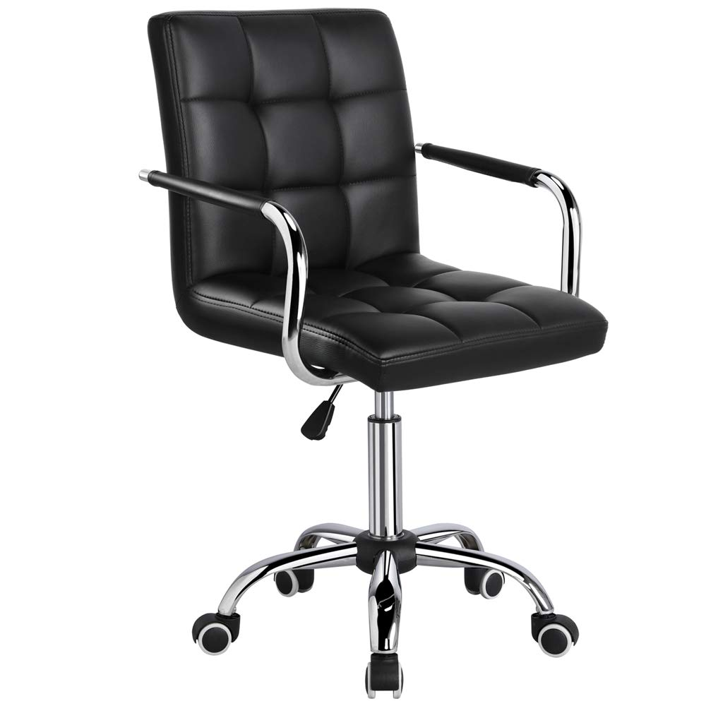 Yaheetech Desk Chair - Office Chair with Arms/Wheels for Teens/Students Swivel Faux Leather Home Computer Black by Yaheetech