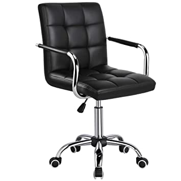 Fabulous Yaheetech Desk Chair Office Chair With Arms Wheels For Teens Students Swivel Faux Leather Home Computer Black Lamtechconsult Wood Chair Design Ideas Lamtechconsultcom