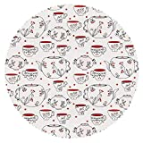 iPrint Beautiful Round Tablecloth [ Tea Party,Vintage Crockery Pattern with Swirled Floral Motifs Red Berries and Dots,Red Black White ] Fabric Home Tablecloth Ideas