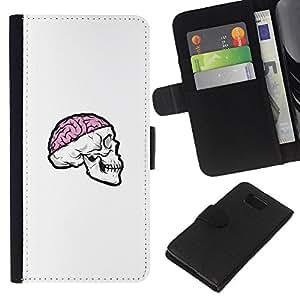 LECELL--Cuero de la tarjeta la carpeta del tirón Smartphone Slots Protección Holder For Samsung ALPHA G850 -- Cráneo rosado del cerebro --