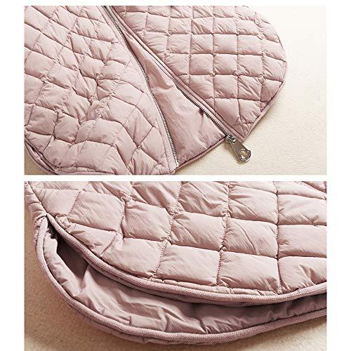 Larga Abajo Moda Capucha Invierno Manga Largo E m pink Con Sólido Abrigo Cremallera De Otoño Color Chaqueta B7A8gBWn