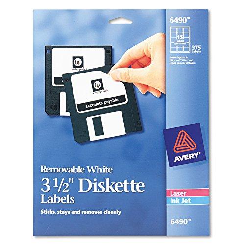 3.5 Diskette Labels - Averyamp;reg; Laser/Inkjet Removable 3.5in Diskette Labels, White, 375 per Pack