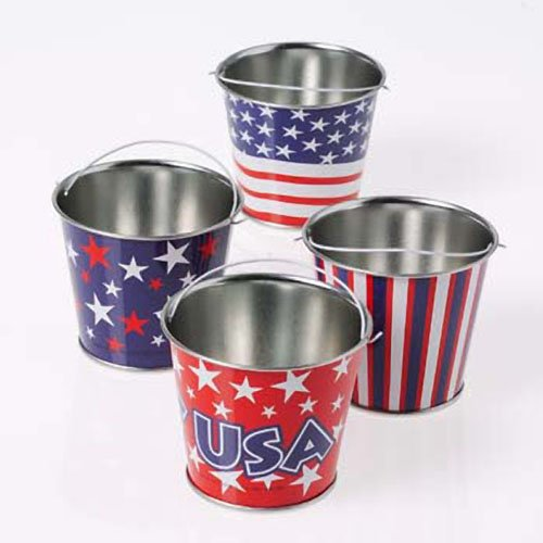 Lot of 12 Assorted Patriotic Theme Mini Metal Bucket Party Favors by US Toy