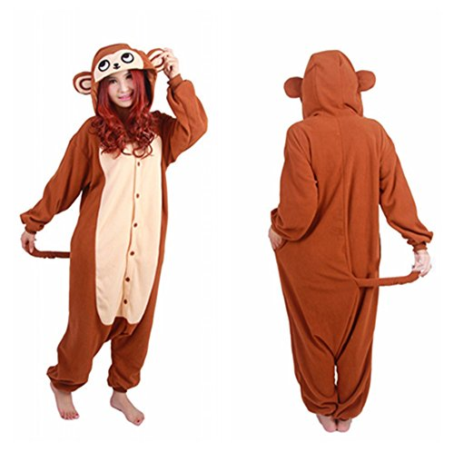 WOTOGOLD Animal Cosplay Costume Costume Monkey Unisex Adult Pajamas Brown,Small (Women Monkey Costume)
