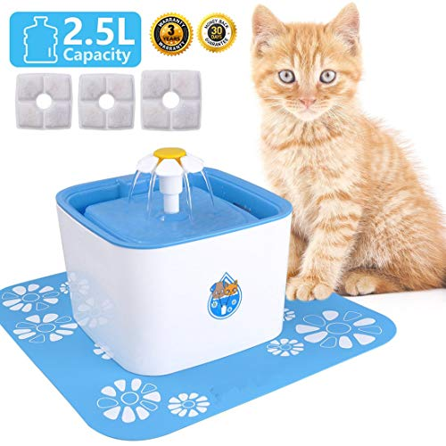Cat Fountain Water Fountain Cat Bowl 84oz/2.5L with 3 Replacement Filters & 1 Silicone Mat Cat Water...