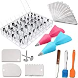 55 PCS Cake Decorating Tools Set. Icing Tips-Piping Cake Nozzle. Supplies Frosting Tools Set for Cupcakes Cookies Tools. Making Cookies Kit. Cake Smoother Tool. Easy to Set & Use Baking Tool Supply