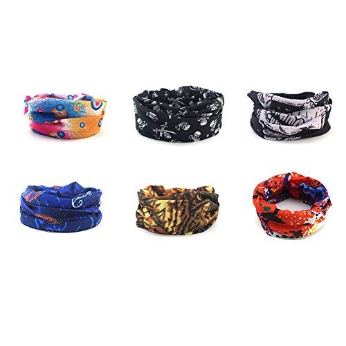 BigBoss 6 Pack Magic Headbands for Women Men Fashion Head Wrap Tie Multifunctional Windproof Face Mask for Sports