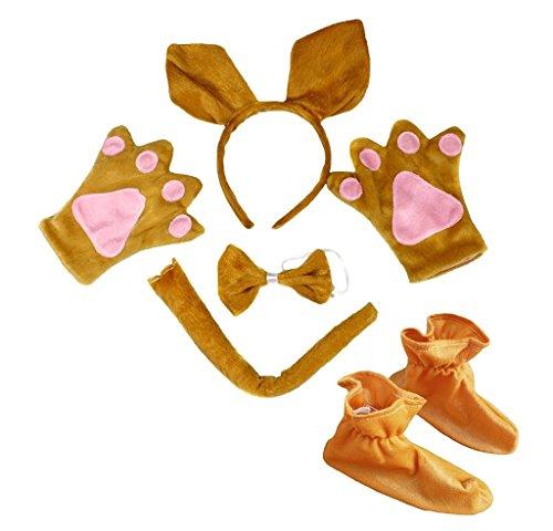 Petitebella Headband Bowtie Tail Gloves Shoes Unisex Children 5pc Costume (Brown Kangaroo)