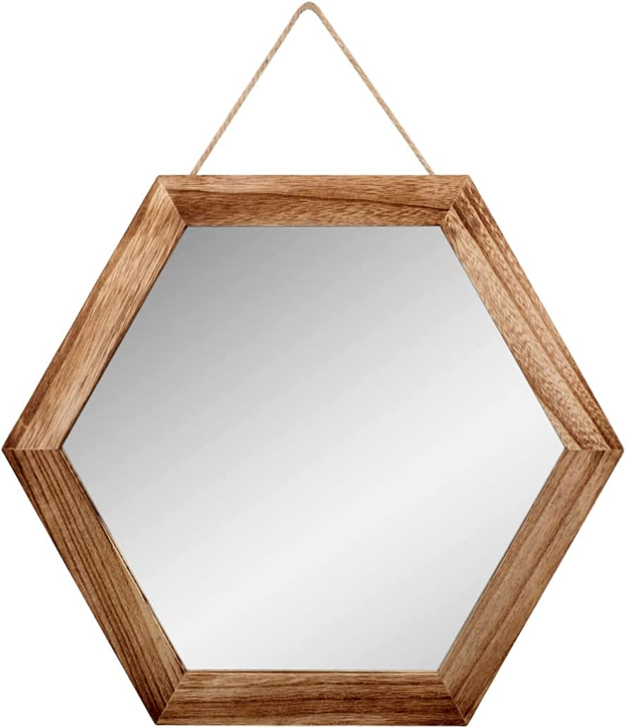Emfogo Decorative Rustic Wall Mirror with 14 inch Hexagon Wood Framed Mirror for Bathroom,Bedroom,Over Door ,Farmhouse,Vanity, Living Room,Entryway Wall Decor(Carbonized Black)