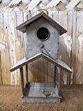 Adorable Industrial Style Galvenized Metal Bird Feeder House Rustic Antique Styling