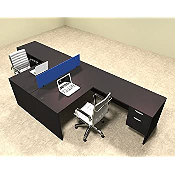 Two Person Blue Divider Office Workstation Desk Set, #OT SUL FPB40