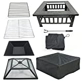LEMY 32' Outdoor Fire Pit Square Metal Firepit Backyard Patio Garden Stove Wood Burning BBQ Fire Pit W/Rain Cover, Faux-Stone Finish