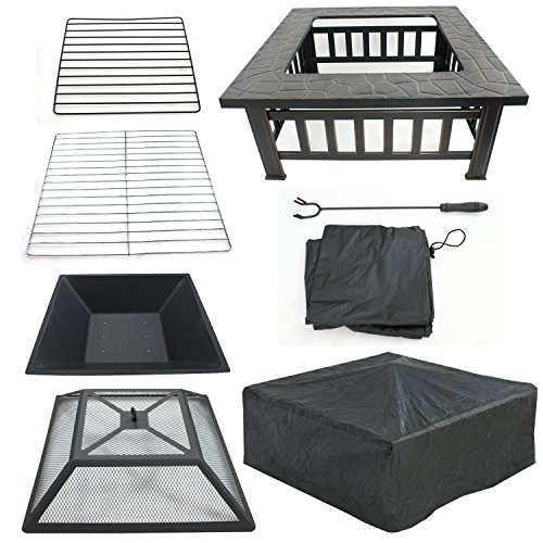 """LEMY 32"""" Outdoor Fire Pit Square Metal Firepit Backyard Patio Garden Stove Wood Burning BBQ Fire Pit W/Rain Cover, Faux-Stone Finish"""