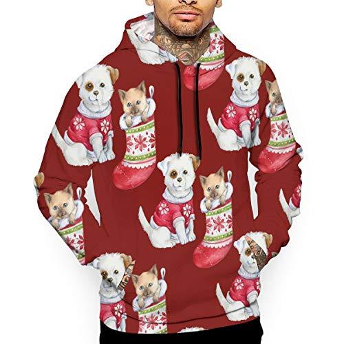 Uyhoijpo Christmas Puppy Kitten Wallpaper Fashion Hoodies Unisex