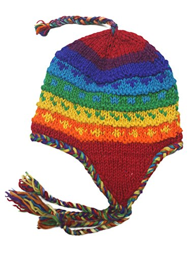 Sherpa Designs Hand Knit Unisex Wool Beanie Hat Ear Flap Fleece Lined Nepal (Rainbow) ()