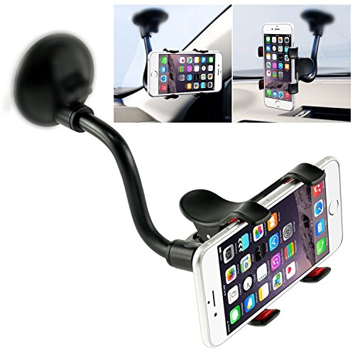 Car Phone Mount Windshield , Long Arm Clamp iVoler Universal Dashboard with Double Clip Strong Suction Cup Cell Phone Holder for iPhone 8 8 Plus X 7 7 Plus 6 6 Plus Galaxy S5 S6 S7 S8 Google LG Huawei (Mount End Gooseneck)