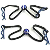 Hot Racing BWP123B06 Body Clips with Fastened Rubber Leash (Blue)