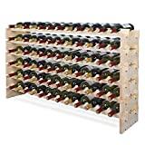 Smartxchoices 72 Bottle Large DIY Stackable Modular Wine Rack Free Standing Floor Wine Storage Rack Thick Wood Wine Holder Display Shelves, Wobble-Free (72 Bottle)