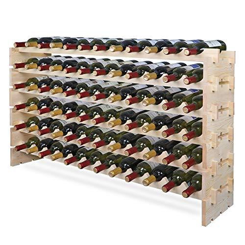 smartxchoice 72 Modular Wine Rack, Stackable Wine Storage Rack Free Standing Floor Cellar Wine Holder Display Shelves, Solid Wood - Wobble-Free (72 Bottles)