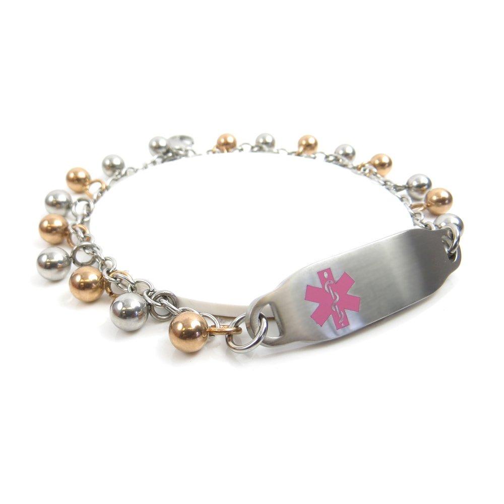 Pink Symbol Pre-Engraved /& Customized Penicillin Allergy ID Bracelet My Identity Doctor Steel Raindrop