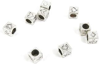 Argento antico tono gioielli ciondoli D1RA7E Poker Suit Loose Beads Craft Art making crafting Beading, metallo, antique silver