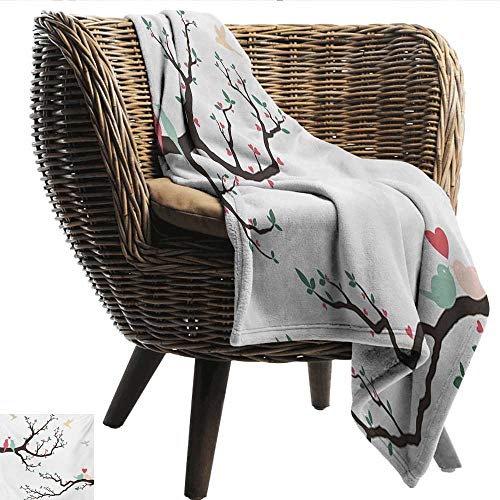 (EwaskyOnline Love Sofa Cushion Birds on The Tree Serenade Nostalgic Partners Ceremony Valentines Romance Theme car/Airplane Travel Throw 60