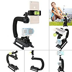 Fantaseal DC+DV+3-in-1 Camera Steadycam Mount Hand Grip C Stabilizer Bracket Low Position Shooting Rig Handle Support Holder w/3 Axis Hot Shoe Bubble Level for Gopro /SJCAM/Garmin Virb + other cameras
