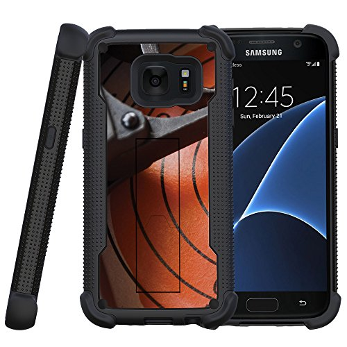 MINITURTLE Case Compatible w/Miniturtle Case for Samsung Galaxy S7 Case [Shockwave Armor] Hybrid Bumper Layered Case w/Built in Stand Trigger and - Shockwave Targets