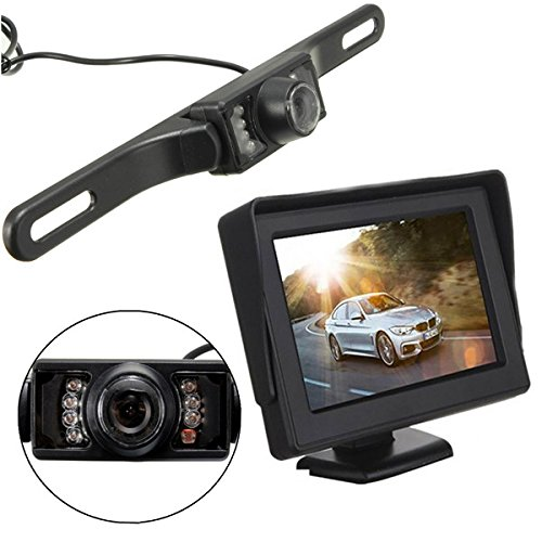 "iMeshbean 4.3"" Wireless Rearview Backup Cam & Monitor Kit For Car/Truck / Van / Caravan / Trailers / Camper System, Waterproof Night Vision Cam, Distance Scale Lines, Swivel Angle Adjustable Cam"