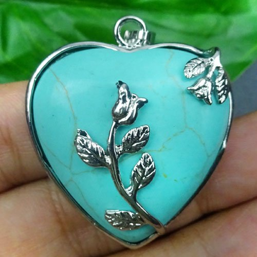 Wire Wrap blue Turquoise Heart Pendant Bead DIY Jewelry Making stone Random send - Wire Wrap Pendant Beads