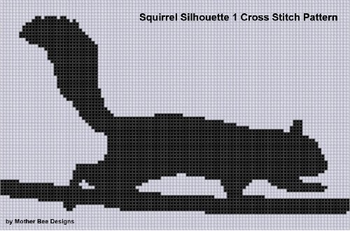 Squirrel Silhouette 1 Cross Stitch Pattern