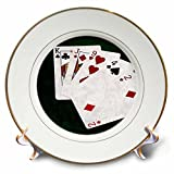 3dRose Alexis Photo-Art - Poker Hands - Poker Hands High Card, King to Two - 8 inch Porcelain Plate (cp_270578_1)