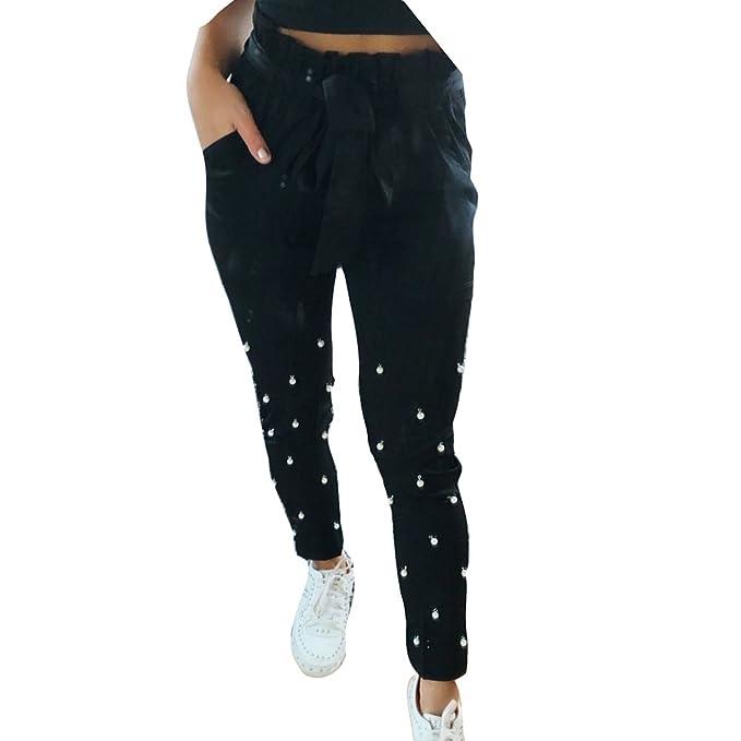 Pantaloni a Matita per Donna - Moda Perle Decorate Slim Pantaloni con  Tasche Comodi Vita Elastica Pantaloni Casuale Piedi Stretti Pantaloni   Amazon.it  ... 29486d72486