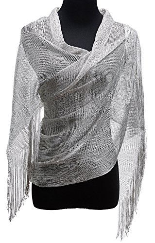 KaKaxi Sheer Glitter Sparkle Piano Shawl Wrap with Fringe Prom Weddings Evening Scarfs,1920s Gatsby Vintage Style,Silver -