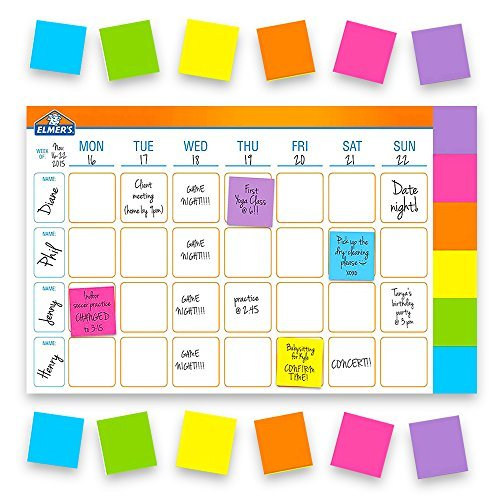 Elmer's Undated Weekly Planner Pad -- Deluxe Perpetual 52 Week Desk Pad Calendar with 300 Adhesive Notes (18x12 Inch (Perpetual Weekly)