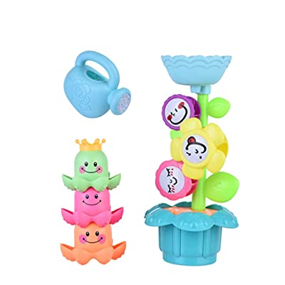 Vibolaa Baby Bath Toys Flower Waterfall Watering Can Bathtub Toys for Newborn Toddler Bath Time Early Development [Ship from USA Directly]: Toys & Games