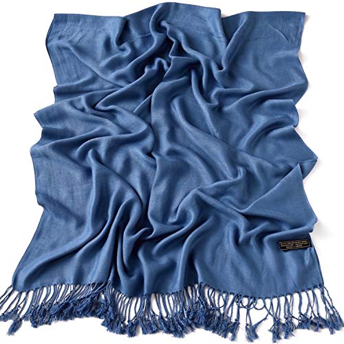 CJ Apparel Denim Blue Solid Color Design Shawl Scarf Wrap Stole Throw Pashmina Seconds NEW